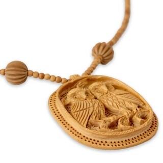 Handcrafted Kadam Wood 'Owl Romance' Necklace (India)