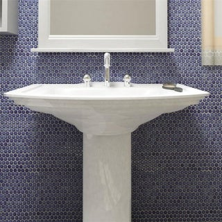SomerTile 12x12.25-inch Penny Sapphire Glossy Porcelain Mosaic Floor and Wall Tile (Case of 10)