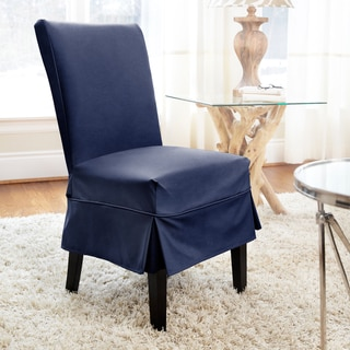 CoverWorks Tara Twill Relaxed Fit Mid-Length Dining Chair Slipcover