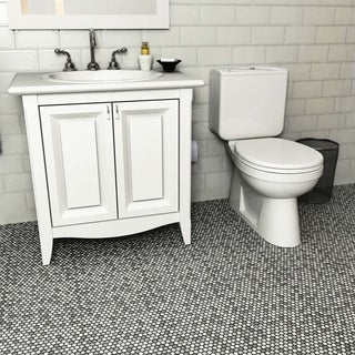 SomerTile 11.75x11.75-inch Asteroid Penny Round Luna Porcelain Mosaic Floor and Wall Tile (Case of 10)