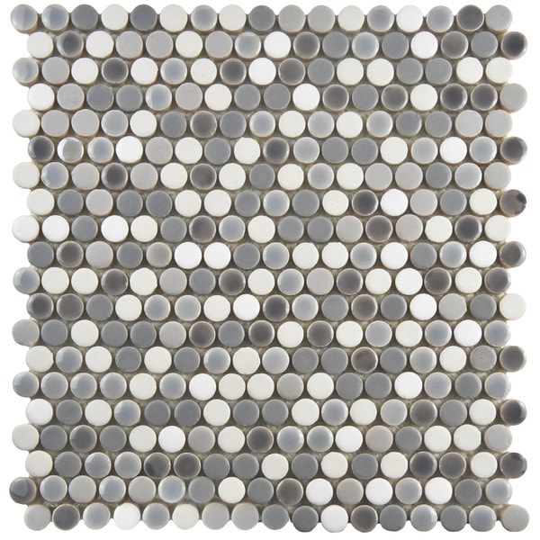75 Inch Asteroid Penny Round Luna Porcelain Mosaic Floor And Wall Tile
