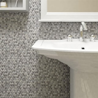 SomerTile 11.75x11.75-inch Andromeda Penny Round Luna Porcelain Mosaic Wall Tile (Case of 10)