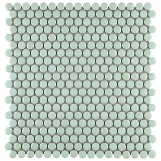 SomerTile 11.75x11.75-inch Andromeda Penny Round Mint Porcelain Mosaic Wall Tile (Case of 10)