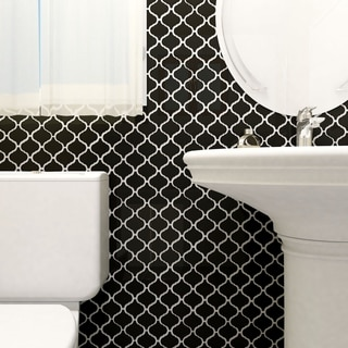 SomerTile 9.75x10.25-inch Victorian Morocco Glossy Black Porcelain Mosaic Floor and Wall Tile (Case