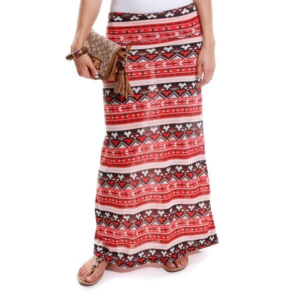 Hadari Women's Tribal Print Foldover Maxi Skirt