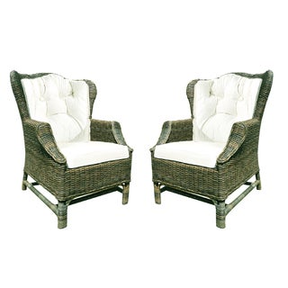 D-Art Rattan Wicker WIng Back Chair (Set of 2)
