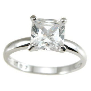 Sterling Silver 1 ct Cubic Zirconia Princess Solitaire Engagement Ring