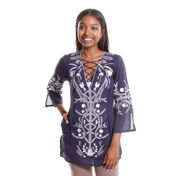 Hadari Women's Embroidered Lace Up Tunic