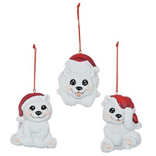 3-Pack Christmas Polar Bear Ornaments
