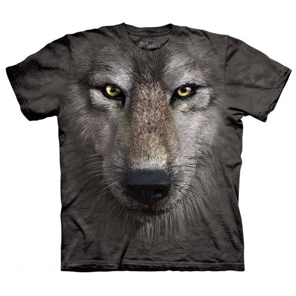 Oversized Print Wolf Face T-shirt