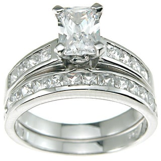 Rhodium Finish Sterling Silver Cubic Zirconia Baguette Solitaire Engagement Ring