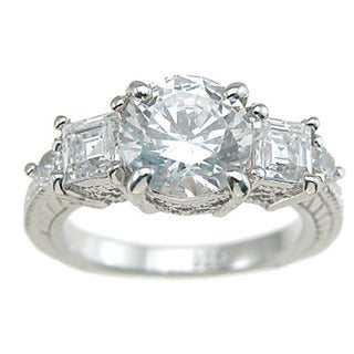 Rhodium Finish Sterling Silver Cubic Zirconia Princess Antique-style Engagement Ring