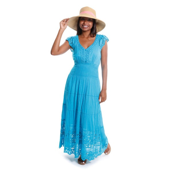 Hadari Women's Lace Tiered Maxi Dress