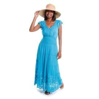 Hadari Women's Contemporary Lace Tiered Maxi Dress