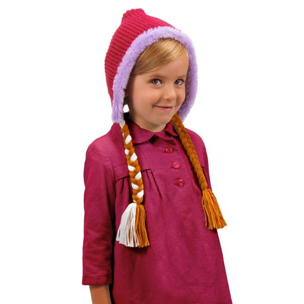 Disney Frozen Anna Hoodie Knit Hat with Braids