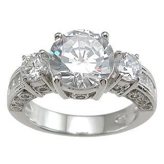 Rhodium Finish Sterling Silver Cubic Zirconia 3-stone Wedding Ring