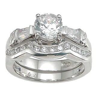 Rhodium Finish Sterling Silver Cubic Zirconia Engagement Ring Set