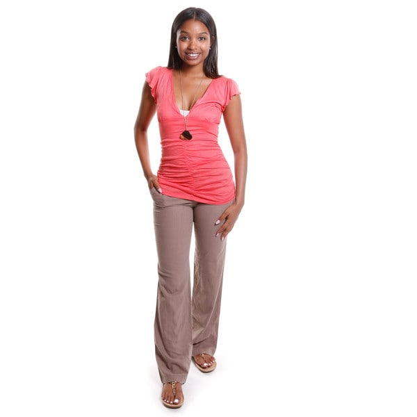 Hadari Women's Ruched V-Neck Top with Straight Leg Pants ( 2 Piece Set )
