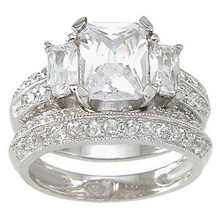 Plutus High Polish Sterling Silver 2 TCW CZ Emerald-cut 3-stone Engagement Ring Set
