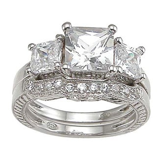 Rhodium Finish Sterling Silver Cubic Zirconia Princess 3-stone Engagement Ring Set