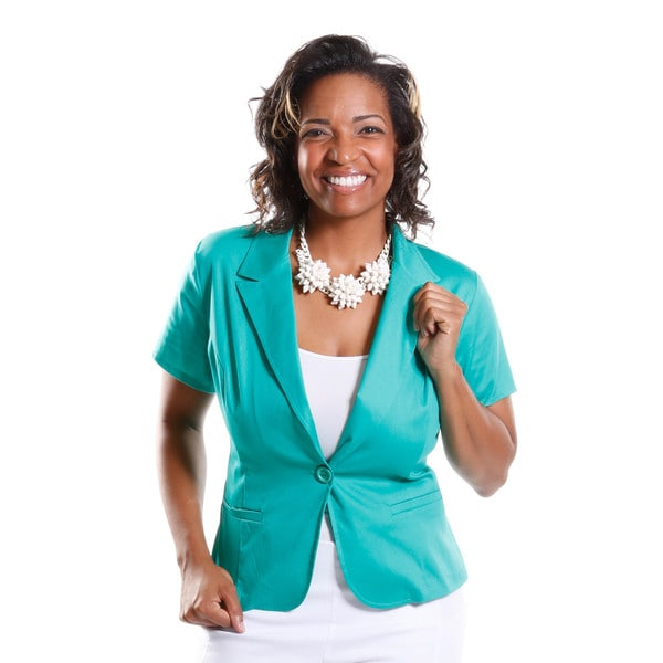 Hadari Women's Plus Size Short Sleeve Blazer