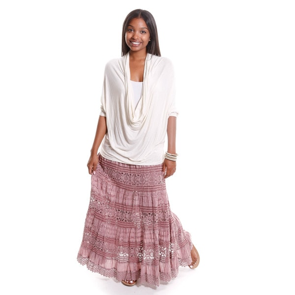 Hadari Women's Peasant Blouse with Lace Maxi Skirt ( Two Piece Set )