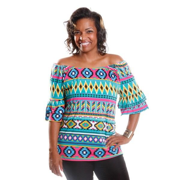 Hadari Women's Plus Size Off-Shoulder Tribal Blouse