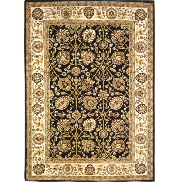 Traditional High Quality Area Rug Black Oriental Rug (6'6 x 9'6)