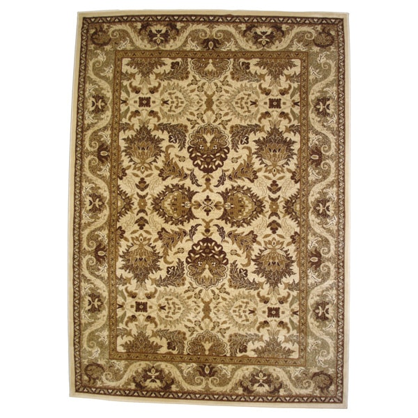 Oriental Area Rug Beige Traditional Rug (6'6 x 9'6)