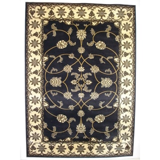 Traditional Oriental Area Rug Dark Blue Rug (6'6 x 9'6)