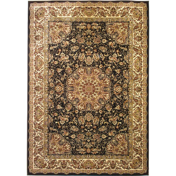 Traditional Oriental Area Rug Black Center Medallion Rug (6'6 x 9'6)