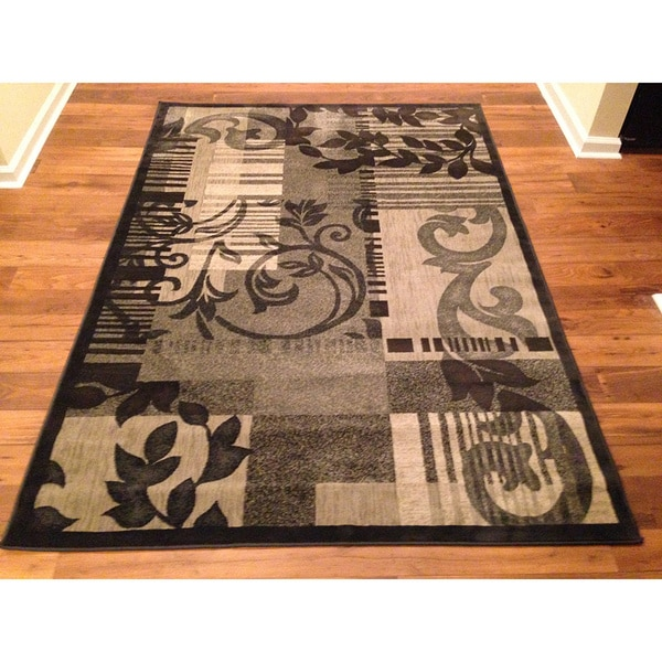 Traditional High Quality Area Rug Grey Oriental Floral Rug (6'6 x 9'2)