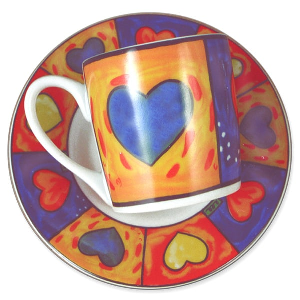 """Amore"" Espresso demitasse Porcelain (Set of 12 gift box 6 cups and 6 Saucers)"