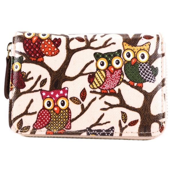 Oilcloth Owl Print Wallet Pouch