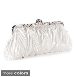 Satin Pleated Crystal Kiss Lock Evening Clutch Handbag