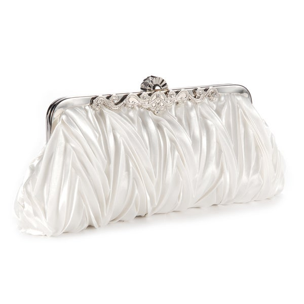 Satin Pleated Crystal Kiss Lock Evening Clutch Handbag 15775338