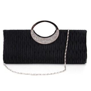 Diamante Ring Frill Handbag Clutch