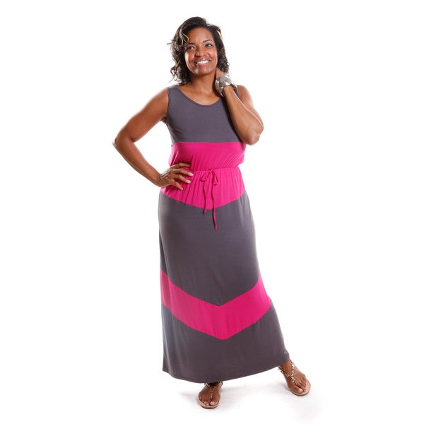 Hadari Women's Plus Size Two-tone Maxi Dress