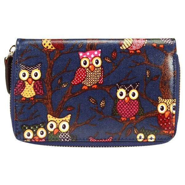 Oilcloth Owl Print Coin Bag Wristlet Wallet