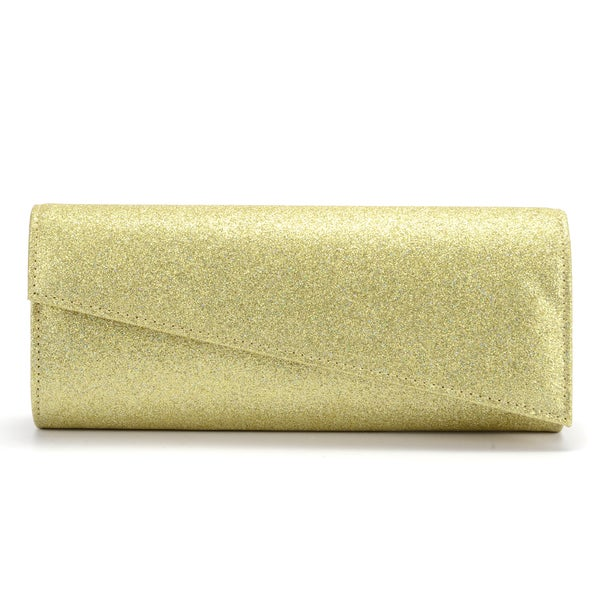 Shimmer Asymmetrical Flap-over Clutch Evening Bag