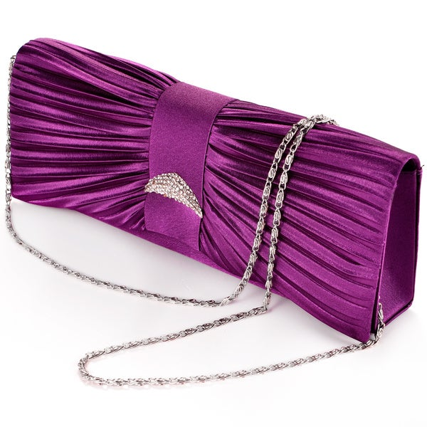 Pleated Diamante Satin Bridal Evening Party Clutch