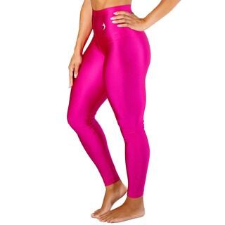 Women's High Waist Pink Metallic Leggings