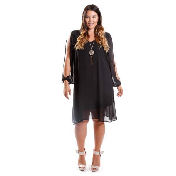 Hadari Women's Plus Size Long Sleeve Trapeze Dress