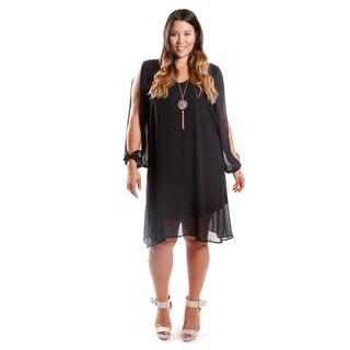 Hadari Women's Contemporary Plus Size Long Sleeve Trapeze Dress
