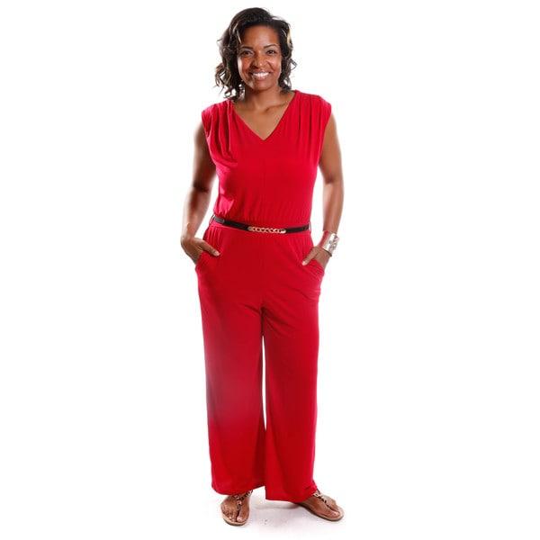 Hadari Women's Plus Size Belted V-Neck Jumpsuit