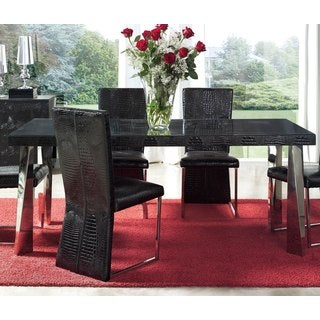 Luca Home Black Patterned Dining Table
