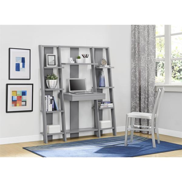 Altra Grey Ladder Storage Office Wall Unit