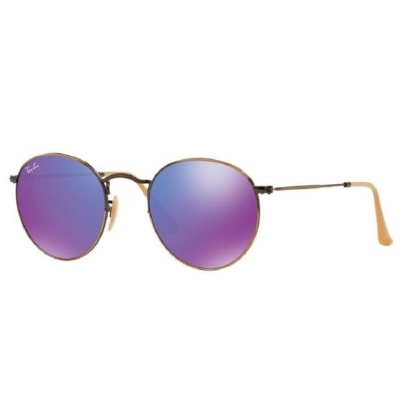 Ray-Ban RB3447 Metal Bronze Violet Mirror Lenses Round Sunglasses