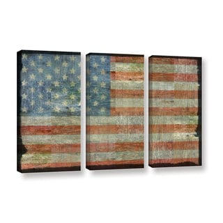 ArtWall Kevin Calkins ' Old Glory 3 Piece ' Gallery-Wrapped Canvas Set