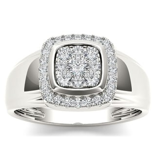 De Couer 10k White Gold 1/2ct TDW Diamond Men's Ring (H-I, I2)